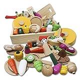 お野菜大好き♫ おままごとセット [天然木使用 知育玩具] 積み木 [かわいいBOX プレゼントに最適] 安心の日本品質検査済 マグネット式 お鍋 食器付き