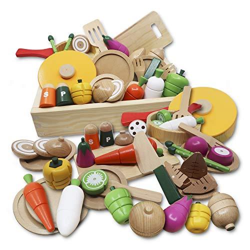 お野菜大好き? おままごとセット [天然木使用 知育玩具] 積み木 [かわいいBOX プレゼントに最適] 安心の日本品質検査済 マグネット式 お鍋 食器付き