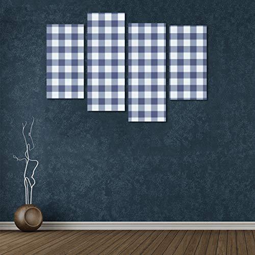 Zemivs 4 Stücke Livinf Room Wall Decor Spielplatz Marineblau Weiß Gingham Check Tapete Mädchen Leinwand Wandkunst Kein Rahmen Wohnzimmer Büro Hotel Wohnkultur Geschenk