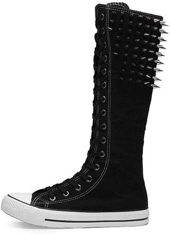 PP Fashion Women's Platform Knee Long Rivet Canvas Boots Flat Heel Lace Up Dance shoes White