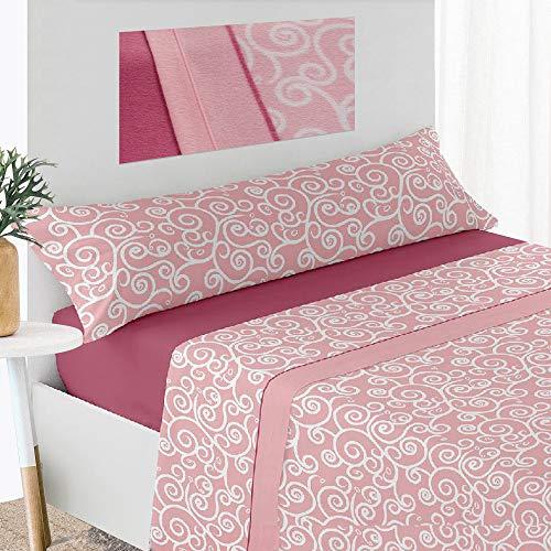 Viste Tu Hogar, Juego de Cama 135 x 180 cm, 3 Piezas, Funda Almohada (135 x 40 cm), Sábana Bajera (135 x 200 cm), Funda Edredón, (200 x 240 cm), Color Rosa