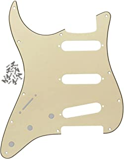 FLEOR 3Ply Cream Left Handed Strat Pickguard Guitar Scratch Plate for USA/Mexican Made Strat Guitar Modern Part