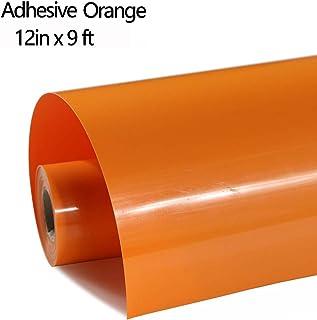 FUNKAKA HTV Vinyl Rolls Orange Iron on Vinyl PVC Adhesive HTV 12 Inch X 9 Feet Heat Transfer Vinyl Easy to Cut & Weed DIY Design for T-Shirt(Orange)
