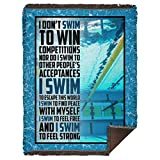 I Don't Swim-to-Win Competitions Fleece Blanket - Premium Sherpa Blanket - Woven Blanket, One Size, Woven Blanket - 60x80 / White
