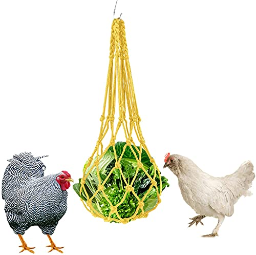 Chicken Vegetable String Bag , Poultry Fruit Holder Chicken Cabbage Feeder Treat Feeding Tool Hook for Hens Chicken Coop Toy for Hen Goose Duck (Yellow, One Size)