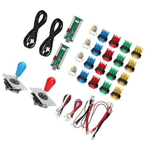 SALUTUYA mit Home-Taste Unterstützung Burst Keys, Blau + Rot, USB, Game Joystick, Rocker, für Doppelspieler(Double DIY Arcade Machine-Color)