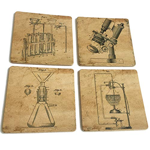 Science lab equipment patent art prints cork coasters