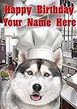 Tarjeta de felicitación de cumpleaños tamaño A5 con diseño de perro husky siberiano j431 Chef Cook Fun Cute Happy Birthday