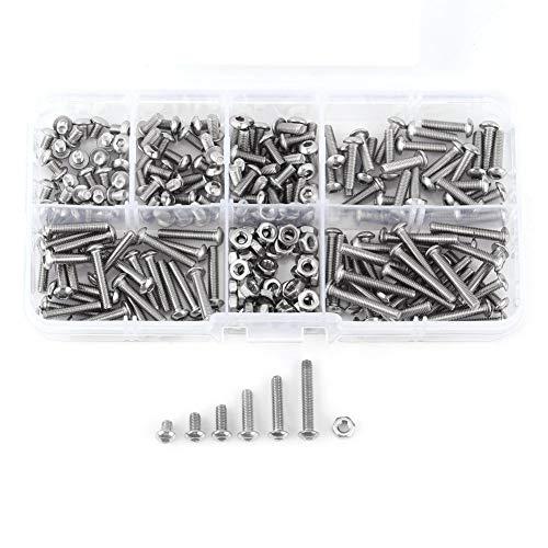 Accesorio de herramienta de reparación de sujetadores-230 piezas M3 Acero inoxidable SS304 Tornillos de cabeza de botón hexagonal Pernos y tuercas con caja