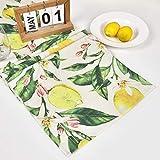 Bateruni Früchte Zitronen Tischläufer, Blumen Rechteckige Tischwäsche Matte, Hitzebeständig rutschfest Tischset für Esszimmer Party Urlaub 35 * 180cm - 2