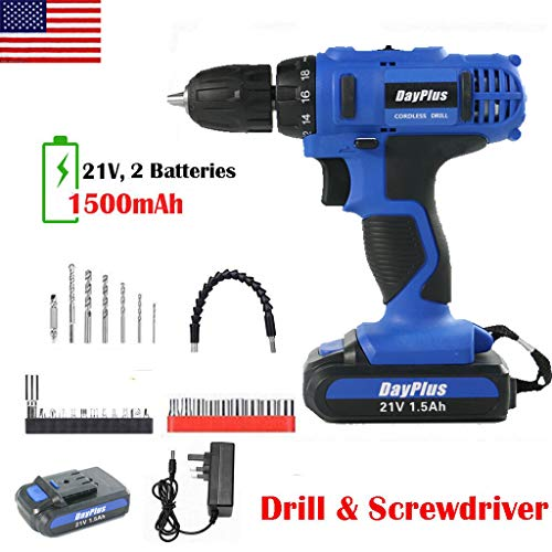 Cordless Drill and Screwdriver Set, 21V Cordless Combi Drill with Battery 1.5Ah, Max Torque 45Nm 18+1 Torque Setting w/LED Light 0.8-10mm Keyless Chuck w/ 2 Speed