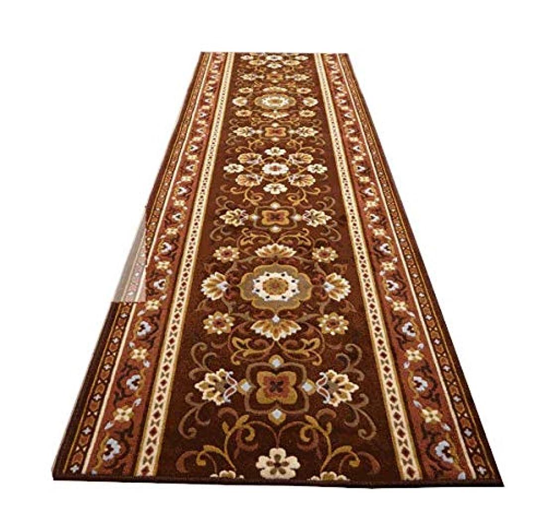 サンダーこれまでまとめる廊下敷き カーペット 幅80×長さ340cm 日本製 洗える ウォッシャブル 滑り止め 抗菌 防臭 アラベスク/ブラウン色