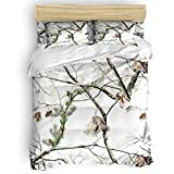 Chic Decor Home Falling Leaves Bedding Sets,White Realtree Camo,3 Piece Duvet Cover Set Comforter Cover with 2 Pillowcase for Childrens/Kids/Adults, Autumn Queen