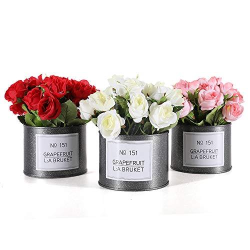 GoMaihe Plants Artificiales Flores Rose 3Pcs Maceta de Metal, 16 × 10cm Plantas Falsas Pequeñas para Interiores y Exteriores, Dormitorio Casa Escritorio de Cocina Decoración Regalo, Rojo, Rosa, Blanco