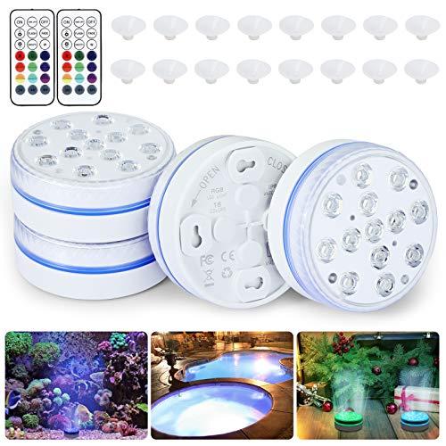 Orelpo Unterwasser Licht, Wasserdichtes LED Licht mit Fernbedienung (RF), Unterwasser-Poolleuchten, 16-Farben, RGB-LED-Leuchten für Aquarium, Vase, Whirlpool, Pool und Partydekoration (4 Packungen)