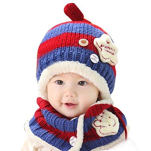 Happy cherry - (Set de 2) Gorro y Bufanda de Navidad Invierno Lana de cordero para Bebés niños niñas - Azul