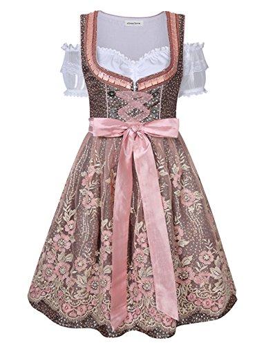 Clearlove Dirndl 3 tlg.Damen Midi Trachtenkleid für Oktoberfest- Spitzen Kleid, Bluse & Schürze, Rosa Spitzen, 42