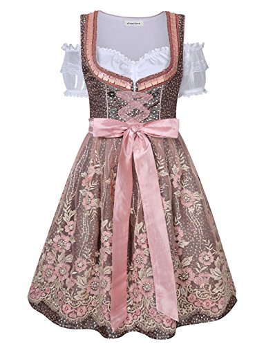 Clearlove Dirndl 3 tlg.Damen Midi Trachtenkleid für Oktoberfest- Spitzen Kleid, Bluse & Schürze, Rosa Spitzen, 40