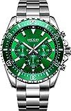 MEGIR Relojes Hombres Acero Inoxidable Impermeable 30M Deportes Reloj De Cuarzo Analógico Moda Fecha Negocios Reloj Clásico Negro Hombres (Verde)