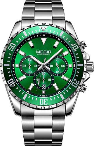 MEGIR Orologio Cronografo da Uomo Quarzo Impermeabile - Verde Orologio da Uomo Cinturino in Acciaio Inossidabile 2064G