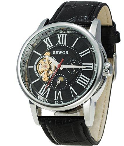 SEWOR Tourbillon Reloj de Pulsera mecánico automático con Fase Lunar para Hombre, Correa de Cuero (Negro)