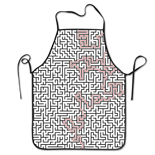 JESSA Maze High Complexity Solution Schürze, Lätzchen Schürze, geeignet für Home Kitchen Cooking Kellnerin Chef Grill Schürze