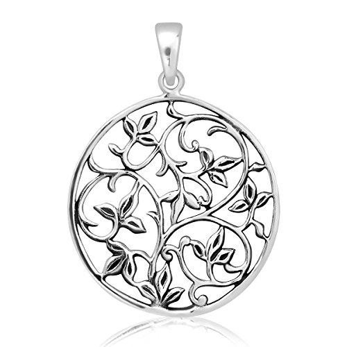 WithLoveSilver Colgante de Plata de Ley 925 Maciza, Diseño de Flor de la Vida