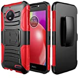 Luckiefind Case Compatible Kyocera Hydro Wave C6740 / Air C6745, Dual Layer Hybrid Side Kickstand Cover Case Holster Clip Accessory (Holster Red)