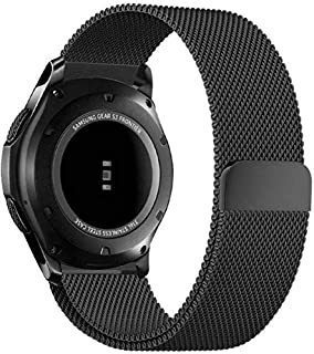 Milanese Loop Mesh Stainless Steel Watch Band With Magnet Lock For Samsung Gear S3 Frontier/Classic, Black