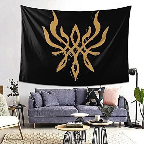 DJNGN Fire Emblem Three Houses Byleth 'S Crest of Flames (Blazing Version) Tapiz de Pared Dorado Álbum de Tapiz Arte para Colgar en la Pared 3D Decoración para el hogar Tapices ondulados
