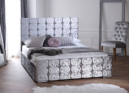 Ventina Silver Crushed Velvet Storage Bed 4ft6 UK Double Size