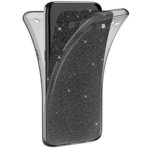 Ekakashop kompatibel mit Galaxy Grand Prime G530 Hülle Glitzer 360 Grad Full Body Case Schwarz Strass Silikon Bumper Komplette Schutzhülle kompatibel mit Samsung Galaxy Grand Prime G530