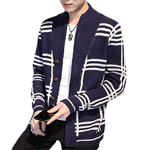 Men's Hipster Plaid Shawl Collar Button Front Knit Open Front Cardigan Coat