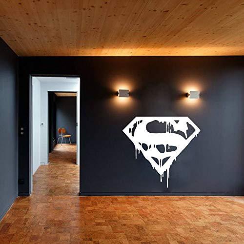 ASFGA Superman Wandtattoos für Wohnzimmer Hauptdekoration Superhelden Raumdekoration Kunst Wandaufkleber für Kinderzimmer Junge Mädchen Teenager