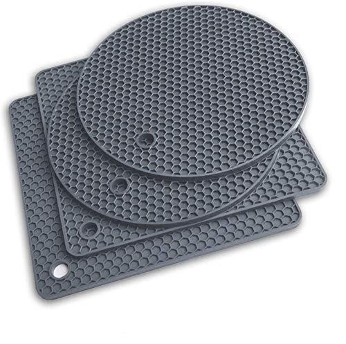 ZORR Silikon Topf Untersetzer 4er Set, Durchmesser 18cm, 0.6cm Dick, Topfuntersetzer Topflappen Hitzebeständiges für warme Speisen - Löffelhalter, topfuntersetzer, Tasse Trockenmatte - Grau