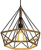 Lámpara Colgante Vintage,cuerda de cáñamo Retro Lámpara