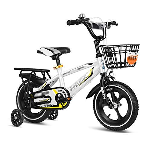 LJJL Bicicleta para Niños, Niños Y Niñas Bicicleta Blanca 2-3-5-6-7-10 Años Bicicleta para Niños 12/14/16/18 Pulgadas Bicicletas Infantiles