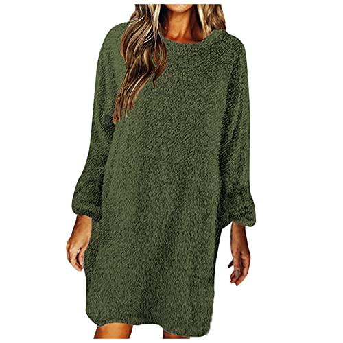 Vestido de color slido para mujer, cuello redondo, felpa, manga larga, vestido suelto, B Army Verde, L