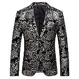 Abito da Uomo Casual in Velluto Uomo Slim Fit Floral Prints Stylish Blazer Coats Chic Jackets Abito Uomo Completo Blazer Gilet Pantaloni Slim Fit Elegante Vestito della Festa Nuziale di Affari Abito