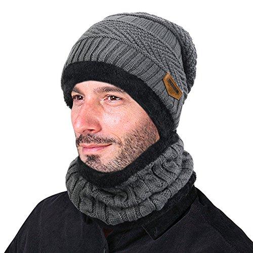 Vbiger Wintermütze Warm Beanie Strickmütze und Schal mit Fleecefutter (Grau) - 5