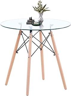 GOLDFAN Table à Manger Ronde 80 cm Design Moderne Table en Verre avec Pieds en Bois de hêtre pour Salle à Manger, Salon, B...
