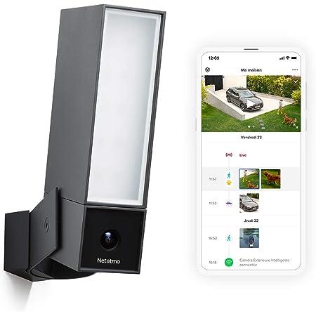Netatmo Caméra de Surveillance Extérieure Intelligente avec éclairage intégré Presence Sécurité, Détection de Personnes, Voitures et Animaux, Aluminium Noir
