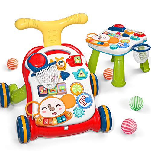 CUTE STONE Sit-to-Stand Learning Walker, 2 in 1 Baby Walker, Early Educational Child Activity Center, Multifunctional Removable Play Panel, Baby Music Learning Toy Gift for Infant Boys Girls