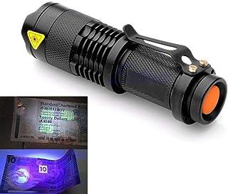 Zoomable LED UV Flashlight Torch Light Ultra Violet Light Blacklight UV Lamp AA Battery