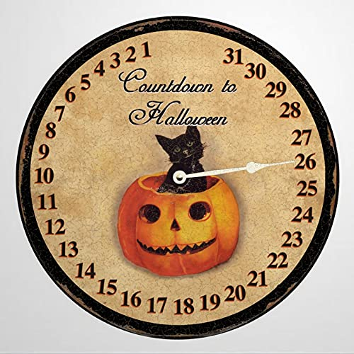 Cuenta atrás para Halloween, imitación de 30,5 x 30,5 cm, reloj de pared de madera redondo para día de independencia, hogar, dormitorio, oficina, sala de estar, comedor.