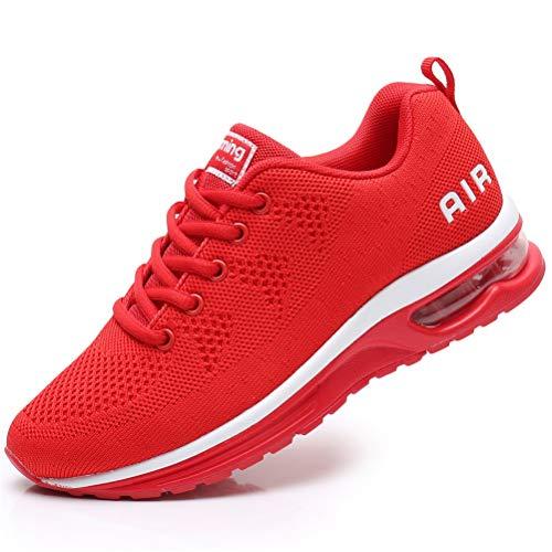 FLARUT Damen Sportschuhe Laufschuhe Herren Turnschuhe Luftpolster Trainers Running Leichte Schuhe Fitness Atmungsaktiv Gym Sneakers(rot B,36