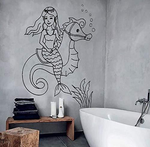 Quszpm Hermoso pez Caballito de mar mar Pegatinas de Pared calcomanías de Vinilo baño baño decoración Mural Cartel calcomanías para habitación de niños 56 cm x 78 cm