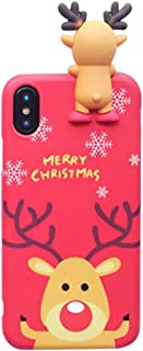 Casa Christmas Case for iPhone Xs Max, Merry Christmas Soft Silicone TPU 3D Cute Snowman Santa/Elk Pattern Pretty Cute Premium Flexible Case Gifts for Apple iPhone Xs Max 6.5'' 2018 (Red)