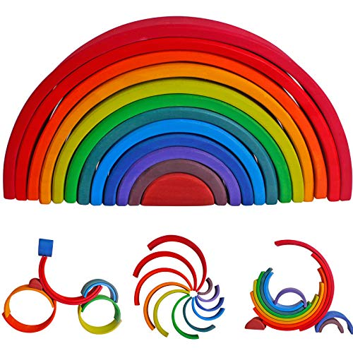 Wooden Rainbow Stacking Toys, 12 Pcs Wood Building Blocks Set, Wooden Building Blocks Nesting Puzzles, Early Matching Educational Learning Montessori Toys for Kids 3 4 5 6 Years and Up