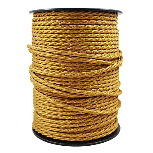 smartect Cable para lámparas de tela en color Dorado - Cable textil trenzado de 2 Metro - 3 hilos (3 x 0,75 mm²) - Cable de luz con revestimiento textil